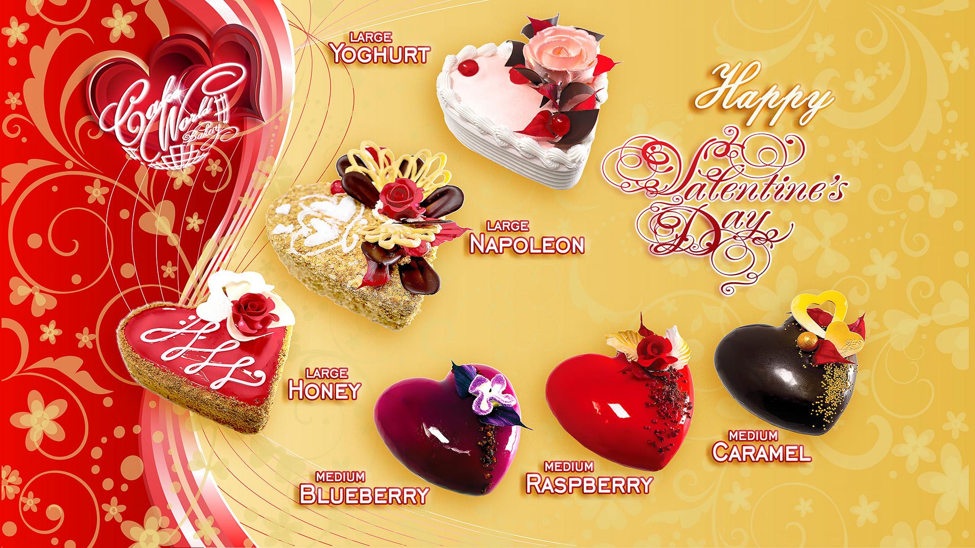 Sveiki mieli mūsų klientai, Sveikiname su artėjančia meilės diena...Jau priimame užsakymus Valentino tortukams širdelė.Šiai Valentino šventei Cake World Bakery konditerei sukūrė romantiško dizaino širdeles .Konditerių meilė ir kuryba,nustebins net patį išrankiausia.Lengvo saldumo ir tirpstantančio gaivumo derinys ,suteiks neišdildomų akimirkų.... Tortuku užsisakyti galite visose parduotuvėse prekiaujančiose Cake World Bakery produkcija jau nuo vasario 6 dienos.